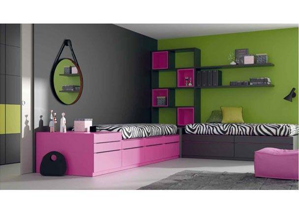 Dormitorio juvenil con dos camas modulares compuestas - Dormitorios con dos camas ...