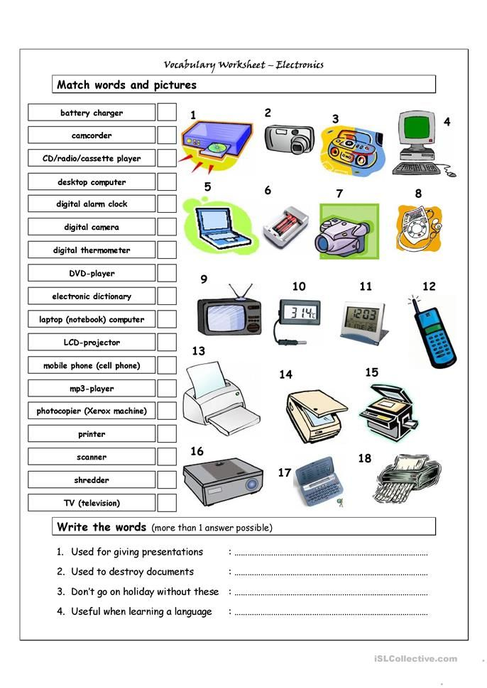 Vocabulary Matching Worksheet Electronics English Esl Worksheets For Distance Learning And Physical Cla In 2021 Vocabulary Vocabulary Worksheets Technology Lessons Printable computer worksheets