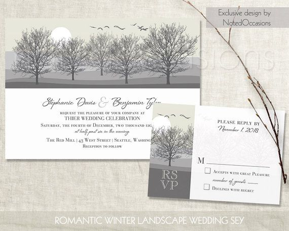 Rustic Winter wedding invitations with a scenic winter wonderland tree landscape with rolling hills and a beautiful blush gold background .