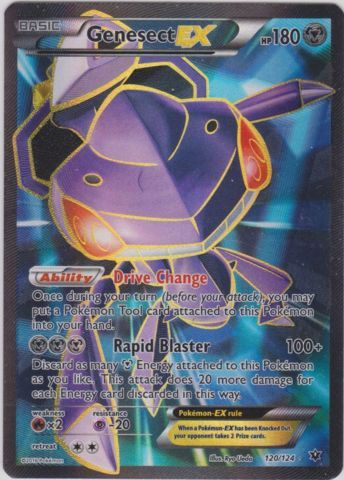 $3.49 - Set: Fates Collide, Card Number: 120/124, Rarity: Full Art Ultra Rare, Illustrator: Eske Yoshinob, Retreat Cost: 2, Weakness: Fire, HP: 180, Stage: Basic, Card Type: Metal, Resistance: Psychic, Name: Genesect-EX, Finish: Holo, Attack #1: MMM Rapid Blaster (100+) Discard as many Metal Energy attached to this Pokmon as you like. This attack does 20 more damage for each Metal Energy you discarded., Attack #2: , Attack #3: , Card Text: , Edition: , Manufacturer: The Pokemon Company, ...