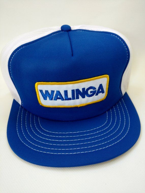 954dfe2db65 Vintage Trucker Hat Walinga Retro 1980s Blue White Mesh Snapback ...