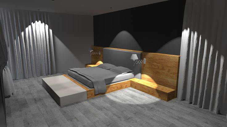 Projekt domu jednorodzinnego- widok na sypialnię