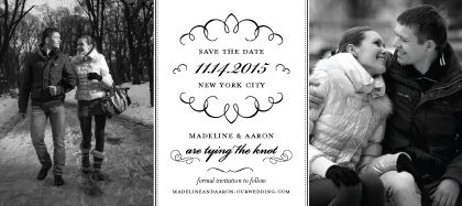 """Black & White Letterpress Wedding Save the Date Card with Photos - """"Love Letter Calligraphy"""" designed by Lauren DiColli Hooke"""