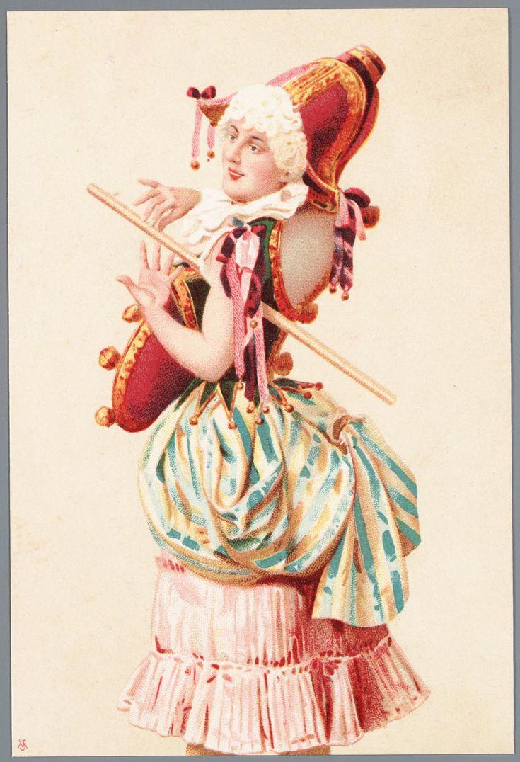 Grafiek in kleur, voorstellende een vrouwelijke Polichinelle