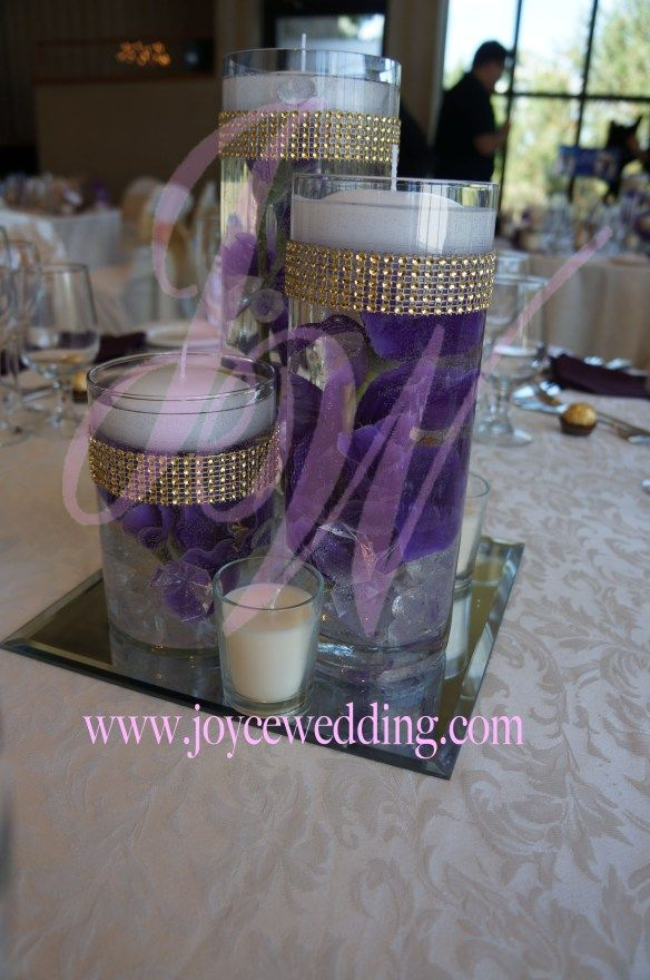 Square mirror candle set centerpiece purple iris