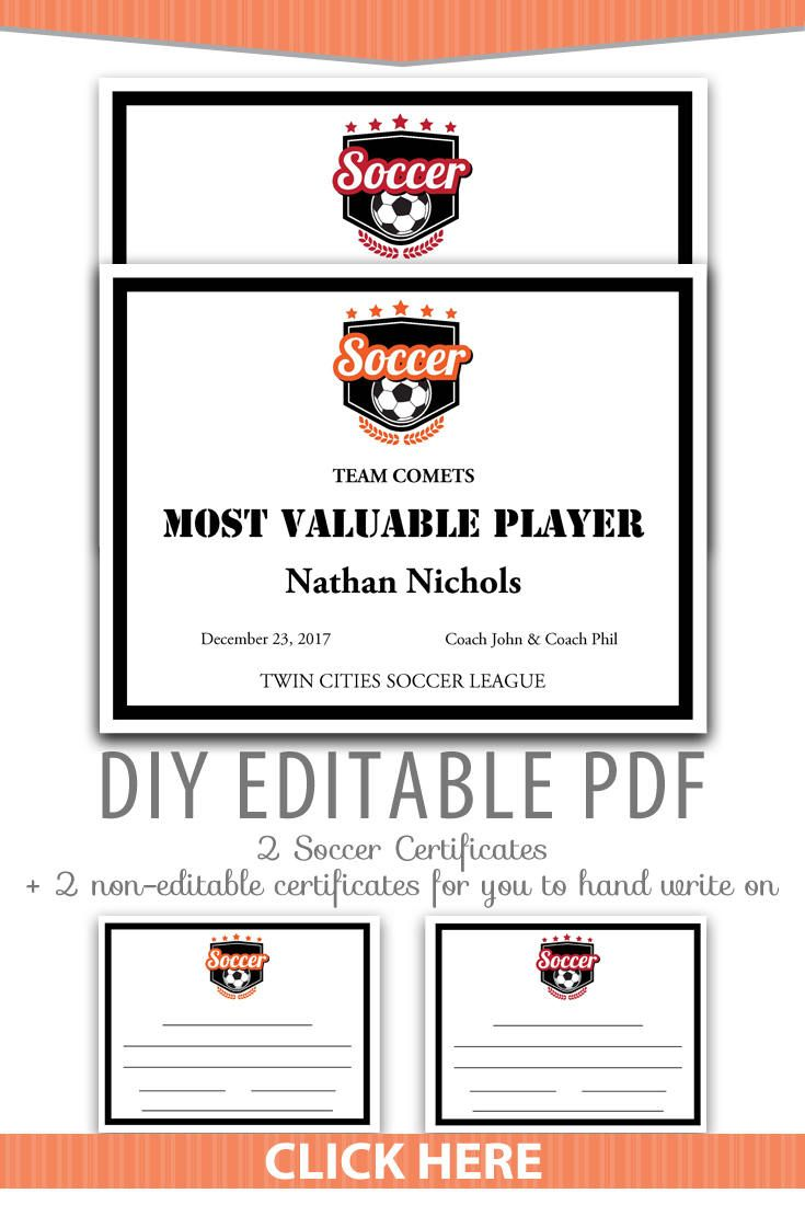 editable pdf sports team soccer certificate award template in 2