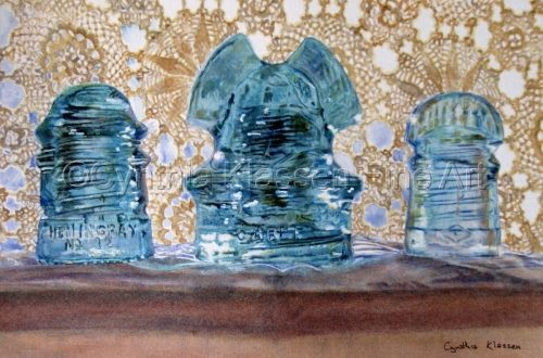 Insulators is a photo-realistic painting done in watercolor of old glass insulators that I sometimes collect. Prints are available through my website, CynthiaKlassen.com.