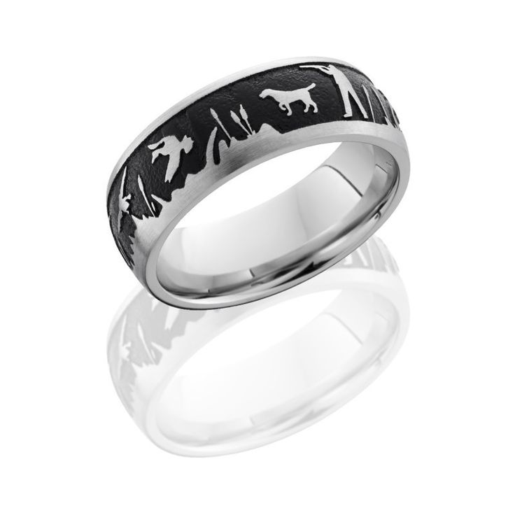 Duck Hunter Men's Wedding Band 8mm Scenic Ring Outdoors Wedding Hunting Dogs Cat Tails Rifleman Titanium Rings