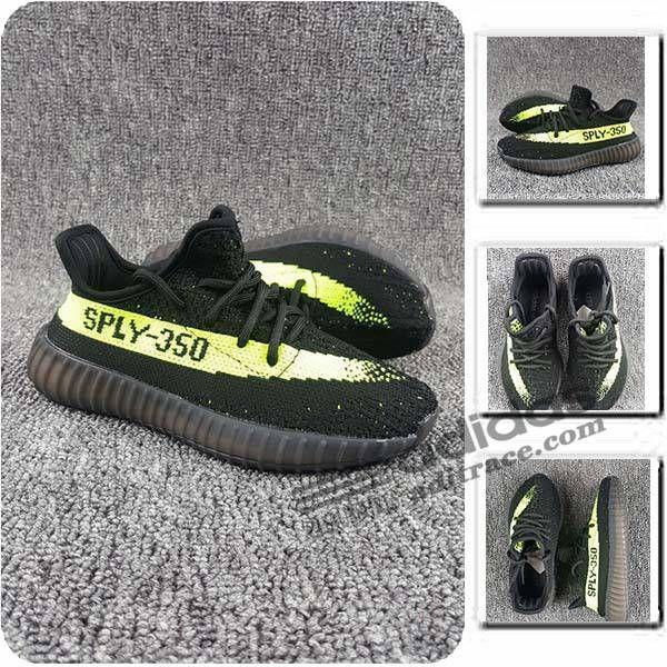 Adidas Yeezy Boost 350 V2 Les Nouvelles Chaussure Enfant Noir/Vert :aditrace
