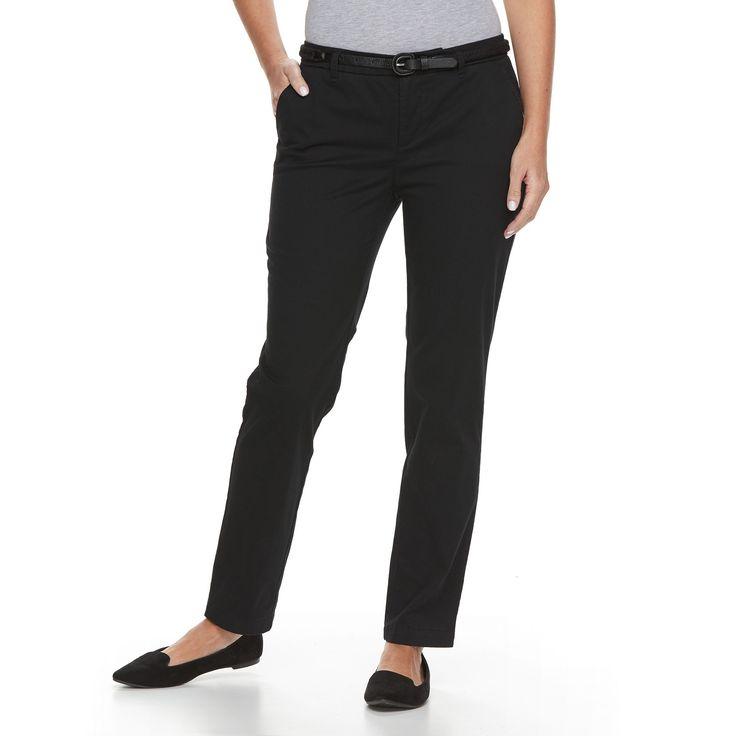 Petite Croft & Barrow® Tapered Chino Pants, Women's, Size: 6P - Short, Black
