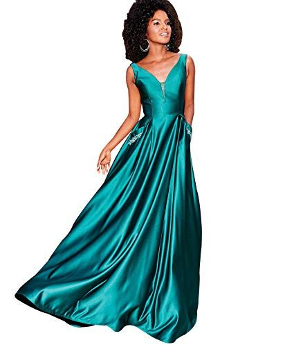 e5dd5645c6b1 Zhongde Women's V Neck Open Back Beaded Satin Prom Dress Long Formal  Evening Gown with Pockets #clothing #fashion #cheapdeals