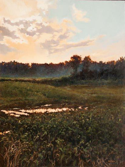 "Denise Antaya - Evening Mist Oil on prepared birch panel 12"" x 16"""