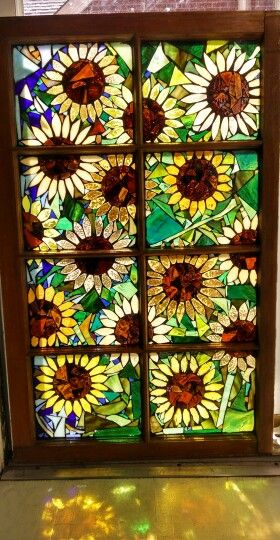 Stained glass mosaic sunflower window by Groovysquid Glass . More at www.facebook.com/GroovysquidGlass