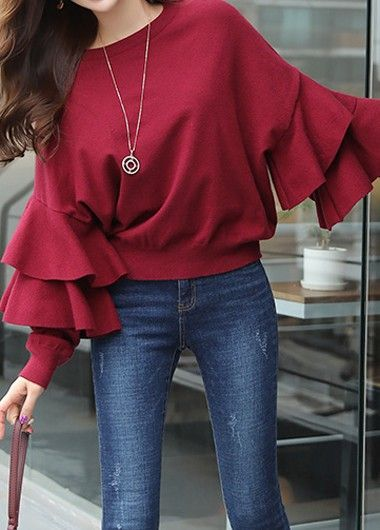 Layered Bell Sleeve Wine Red Round Neck Blouse on sale only US$30.64 now, buy cheap Layered Bell Sleeve Wine Red Round Neck Blouse at liligal.com