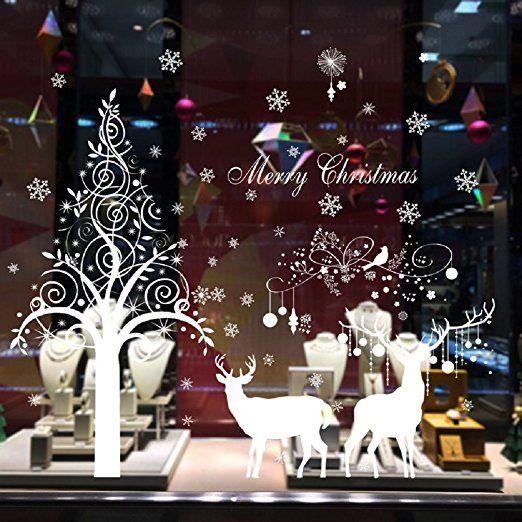 Natale Vetrofanie Decorazione Della Decalcomania Della Home Christmase Decor Wallpaper Babbo Natale
