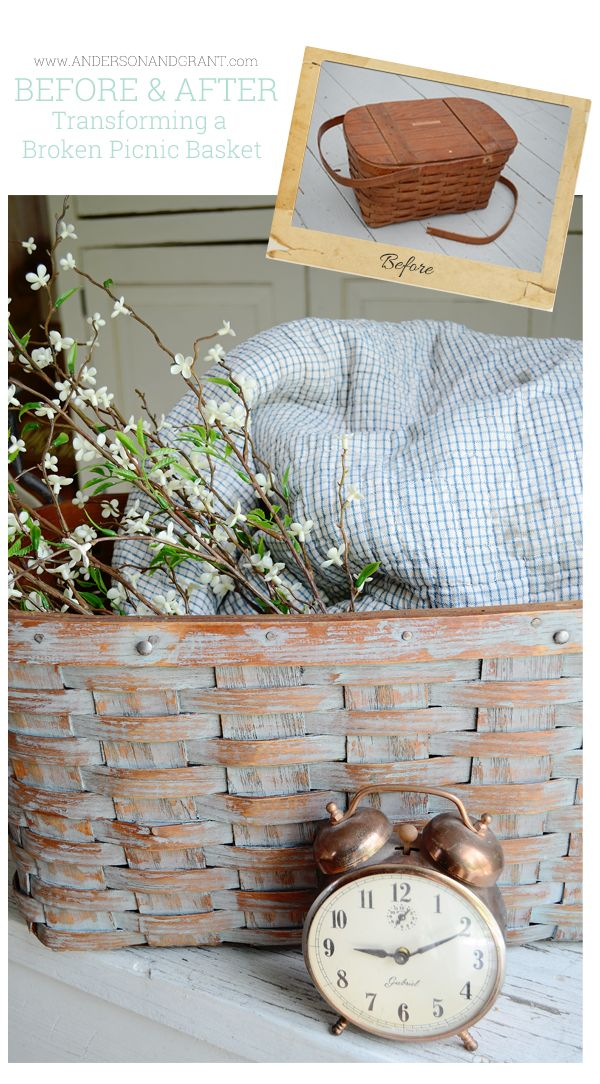 What can you do with a picnic basket that has a broken handle?  Why not transform it into a decorative storage basket by removing the lid an...