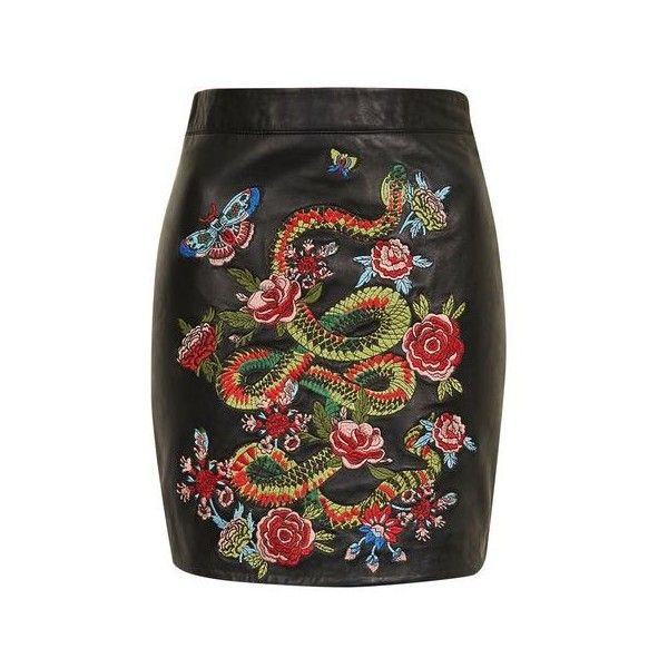 TopShop Snake Embroidered Mini Skirt (€115) ❤ liked on Polyvore featuring skirts, mini skirts, black, floral print skirt, short skirts, real leather skirt, topshop skirts and embroidered mini skirt