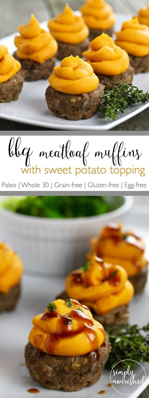 Paleo BBQ Meatloaf Muffins with Sweet Potato Topping Recipe