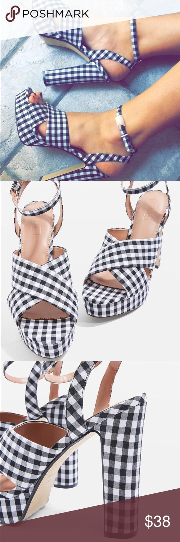 NWOT TopShop Madrid Gingham Platform Heels NEW without tags! In excellent condition. Never worn. Super on trend with the gingham right now! Comfortable and true to size 🖤 Currently retail for $52. Topshop Shoes Platforms