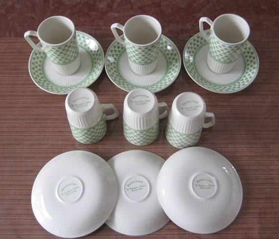 English Ironstone cups & saucers CloverLeaf design-W. Adams