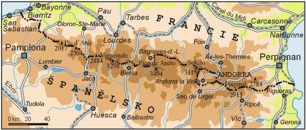 Pyreneje, mapa