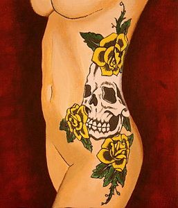 Tattooed Women Painting - Side Tat by Shawn Oleary