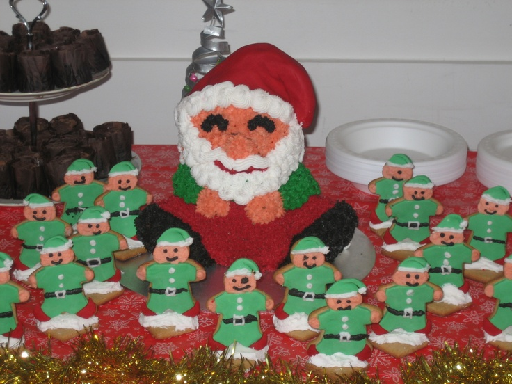 santa cake and elve gingerbread cookies