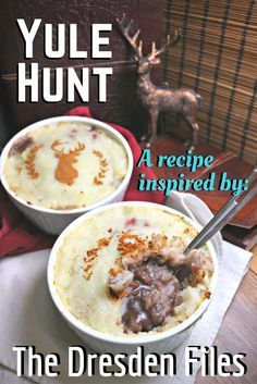 This Wild Hunter's Pie is inspired by The Dresden Files and has versions with lamb, venison, red wine, or cider - depending on whom you want to lead the Wild Hunt.
