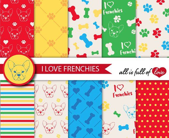 French Bulldog Tiling Patterns  by All is full of Love on @creativemarket