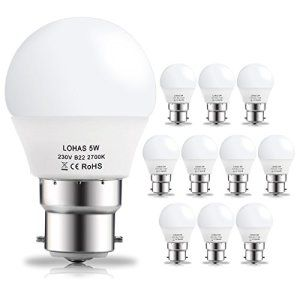 LOHAS® 10 x Ampoule LED B22 Baïonnette 5Watt Lampe Globe Spot Light Bulb Blanc Chaud 2700K 400lm Eclairage 180° Equivalente à Incandescente…