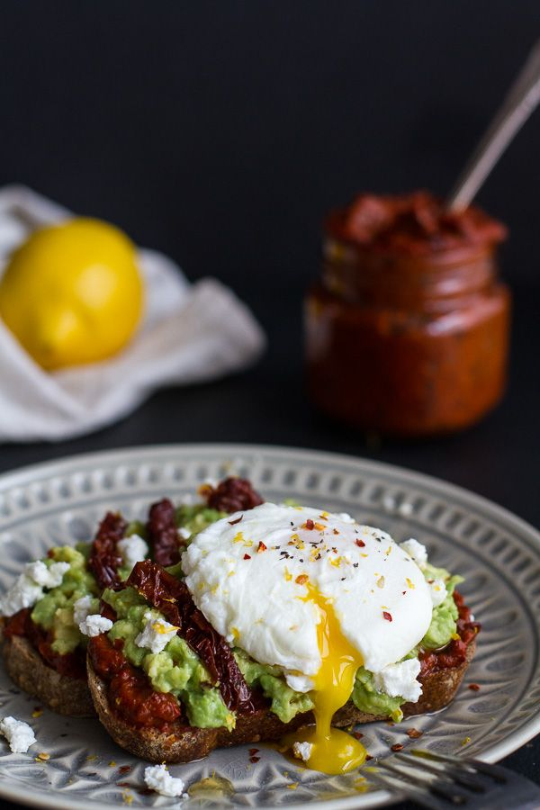 Harissa, Smashed Avocado + Egg Toast with Goat Cheese and Honey Drizzle by halfbakedharvest #Sandwich #Avocado #Egg #Goat_Cheese #Harissa #Healthy