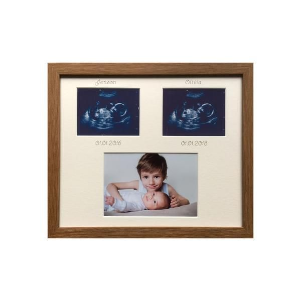 Two Scans Two Siblings Personalised Picture Frame 12 X 10 Oak Wood Effect In 2019 Sister Picture Frames Personalized Picture Frames Picture Frames