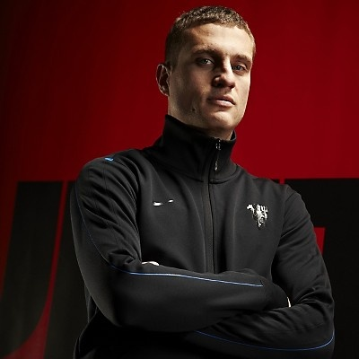 Nemanja Vidic in Nike Man Utd Jacket.