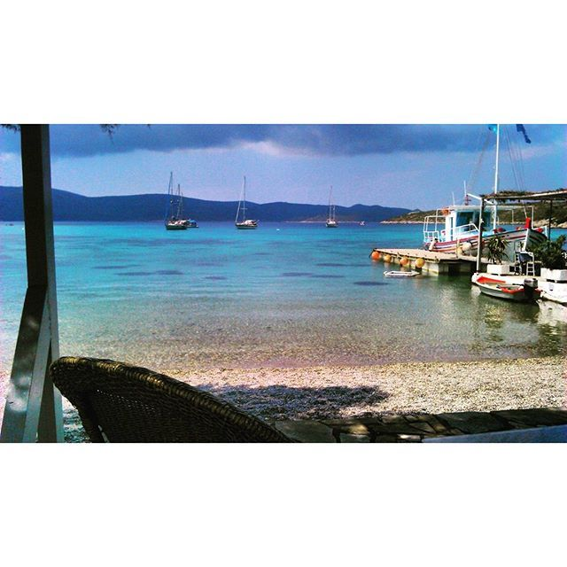 """POSIDONIO BAY - SAMOS (GREECE) """"I felt once more how simple and frugal a thing is #happiness : a glass of wine, a roast chestnut, a wretched little brazier, the sound of the sea. Nothing else."""" - Zorba the Greek - N.Kazantzakis  #greece #samos #greekislands #greecelover_gr #wine #sea #life #blue #ship #beauty #travel #inspiration #inspirationalquotes #quote #quotestagram #quoteoftheday #seashore  #wisdom #pearlofwisdom #livesimply #seaside #sealovers"""