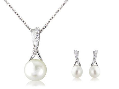 """Pearl Twist"" & ""Pearl Duo"" sterling silver pendant & earring set"