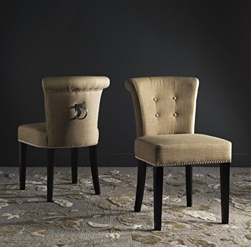 Safavieh Mercer Collection Sinclair Taupe Espresso Linen Ring Dining Chair Set Of 2 Click