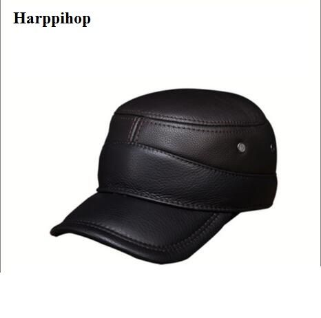 2017 new genuine leather men military cap hat Harppihop new men s ... 731dca9d54b