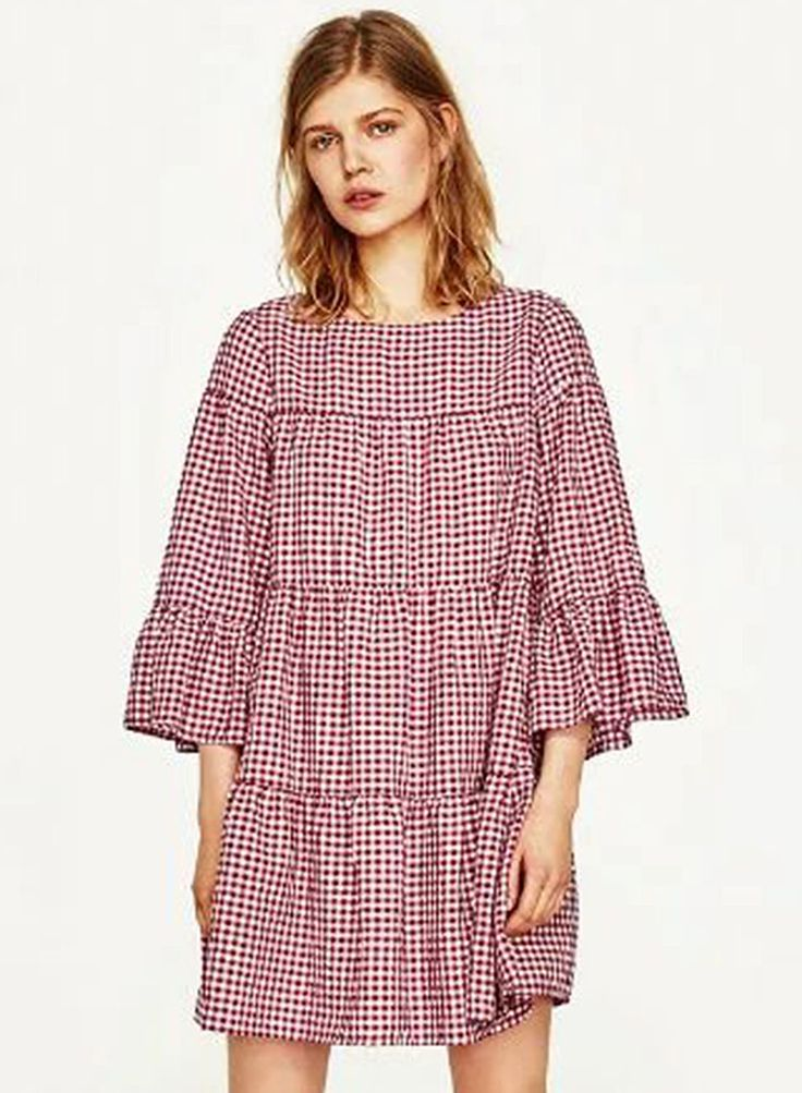 This plaid print dress is featuring three-quarter sleeves, boat neckline, ruffled detailing. Material: Cotton;;;;;.