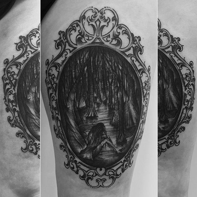 bigproject #tattoo #tattooing #frame #antique #sadgirl #forest #trees #tree #darkness #blackwork #abstract #trash #scratch #linework #ink #art #baltictattoo #kiel #blackworkerssubmission