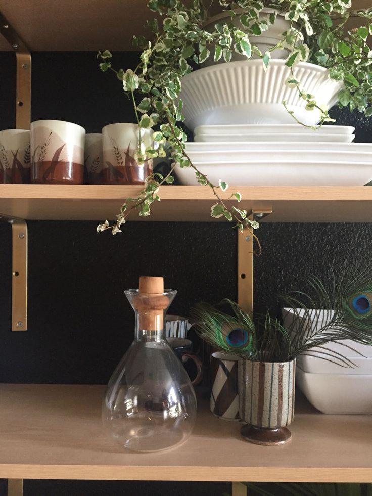 mid century pyrex glass decantor / wood top / modern carafe