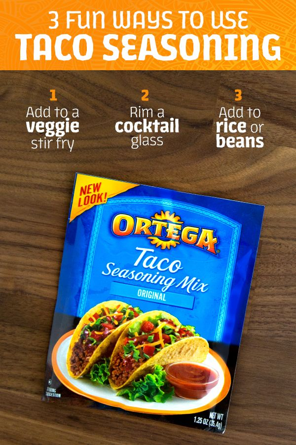 Ortega Taco Seasoning has more than one superpower! Try mixing it into veggies for a Mexican-inspired stir fry. Rim a cocktail glass with it to give cocktails a savory kick. Or add to rice or beans to boost the flavor factor!