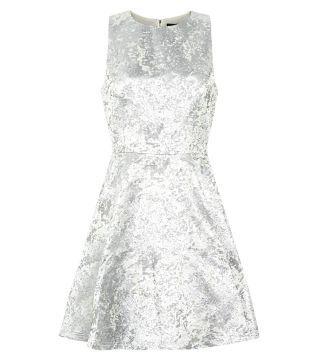 Silver Foil Jacquard Sleeveless Prom Dress
