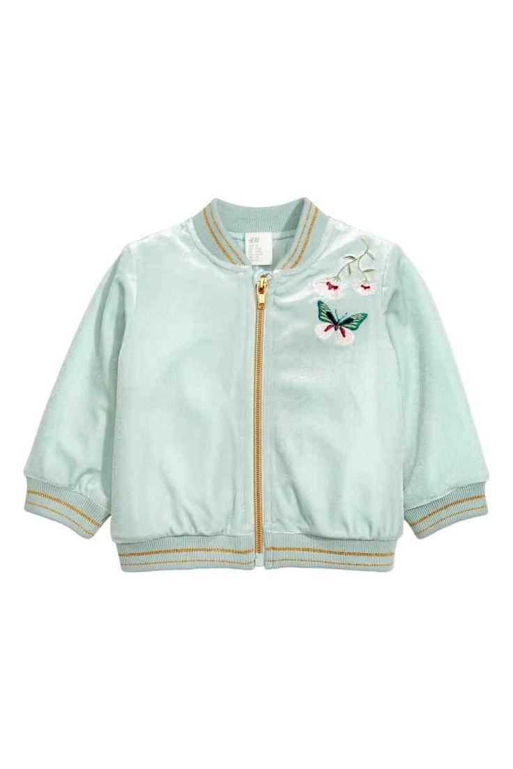 Бархатная куртка-бомбер - Светло-бирюзовый - Дети | H&M RU 1