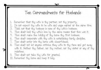 10 commandments for Husbands