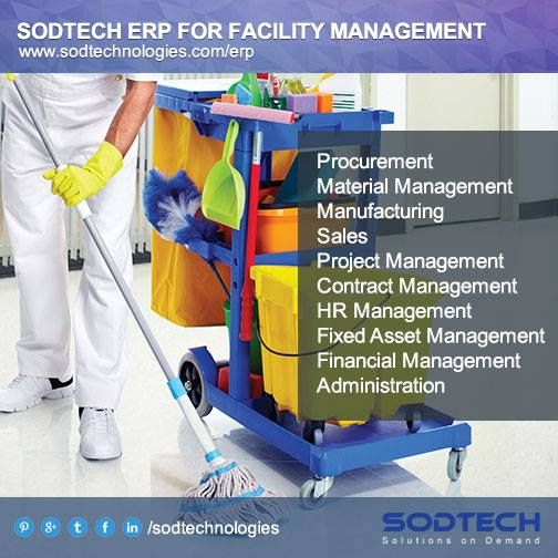 Software for Facility Management accelerate smooth functioning of operations with SODTECH ERP. It significantly results in cost saving, reduction in risk, time saving etc..