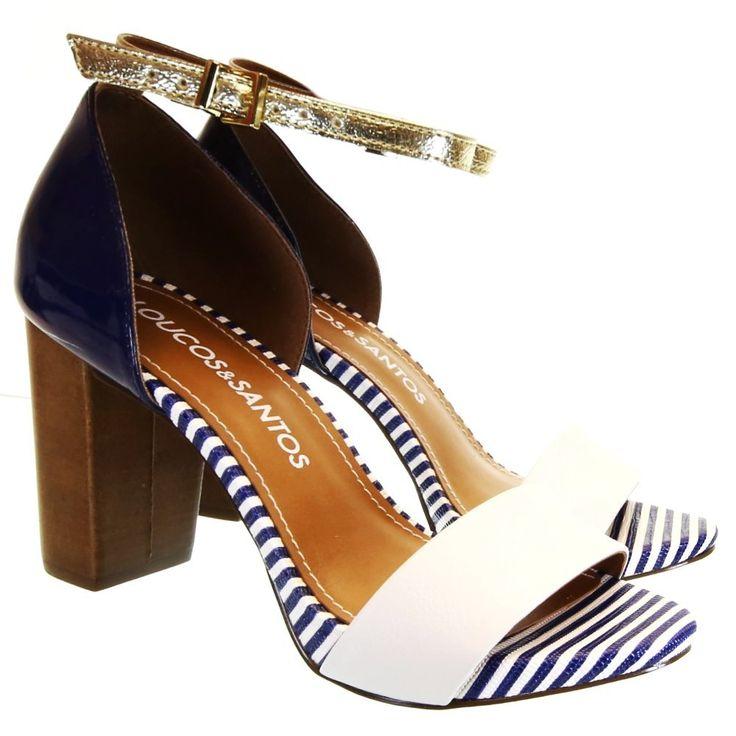 Sandália Marine Azul/Branca 3001 Loucos e Santos by Moselle   Moselle sapatos finos femininos! Moselle sua boutique online.