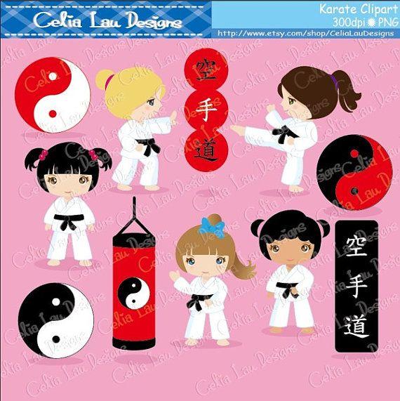 Karate Clipart Karate Kids Clipart/ Karate by CeliaLauDesigns