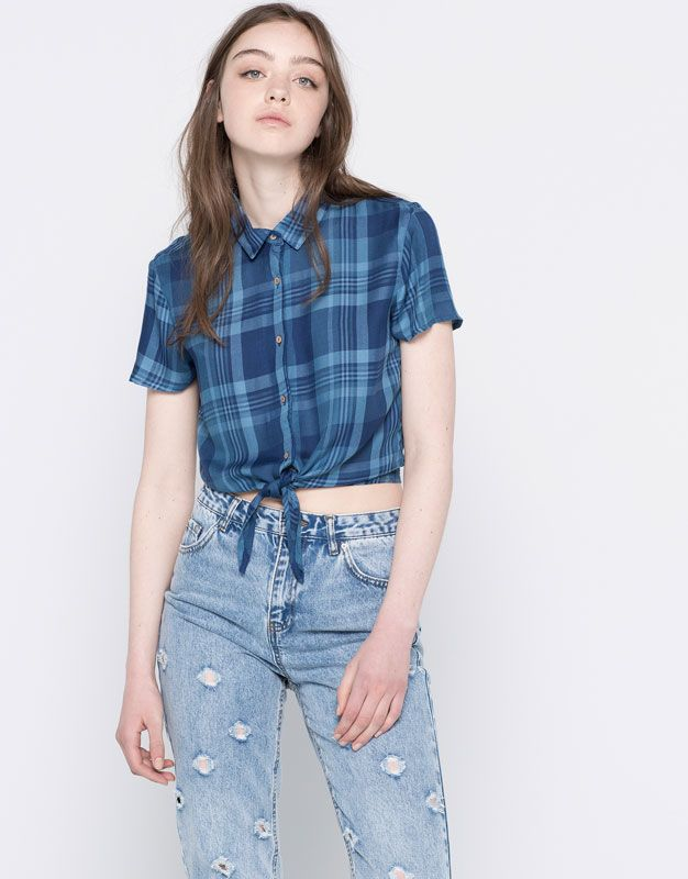 CHECKED SHIRT WITH KNOT - BLOUSES & SHIRTS - WOMAN - PULL&BEAR Israel