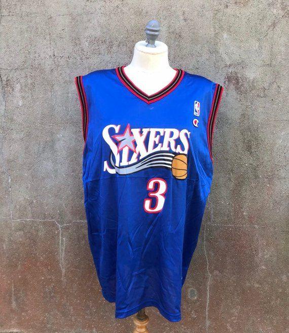 buy popular 56e32 d175e Vintage 90s Philadelphia 76ers Blue Allen Iverson #3 ...