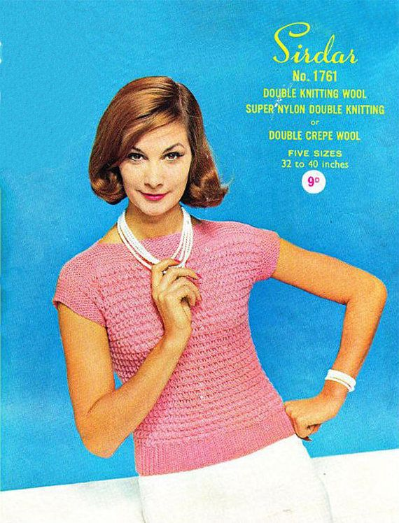PDF Vintage 1950s Womens Ladies Knitting Pattern Summer Larger